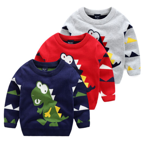 Toddler Baby Boy Dinosaur Pullover Knitted sweaters Tops Tshirt Sweatshirt 27Y