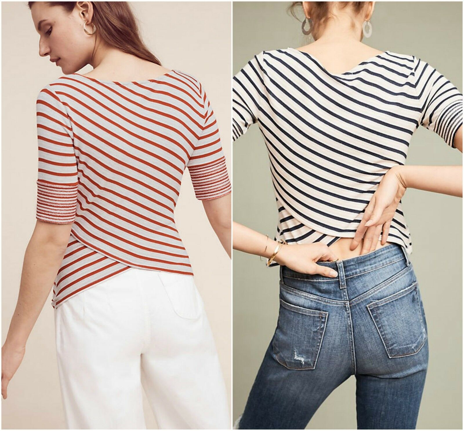 NEW Anthropologie Etoile Striped Top by three dots, Navy rot, XS, S, M, L, XL