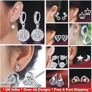 925-Sterling-Silver-Plated-Women-039-s-CZ-Crystal-Stud-Hoop-Kids-Earrings