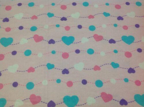 ~ Flannel ~ Hearts ~ Quilting Flannelette~Pink~Mauve~Blue~Girls~Childrens ~ FQ ~
