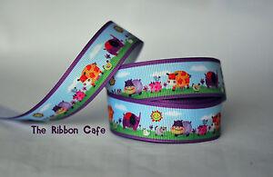 Farm-Zoo-with-purple-border-printed-grosgrain-ribbon-25mm-2-metres