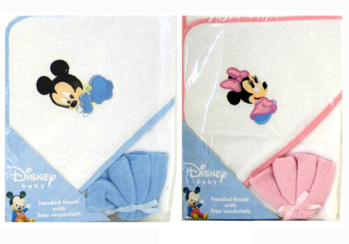 Disney Mickey Minnie Mouse Infant Baby Bath Hooded Towel w Washcloth BLUE PINK