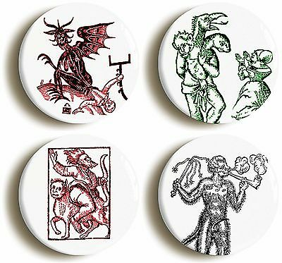 MEDIEVAL OCCULT DEVIL DEMON BADGE BUTTON PIN SET (Size is 1inch/25mm diameter)