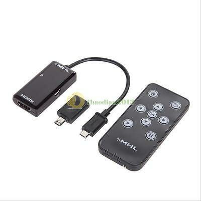 MHL Micro USB to HDMI HDTV Adapter with Remote Control for Samsung S3 S4 S5