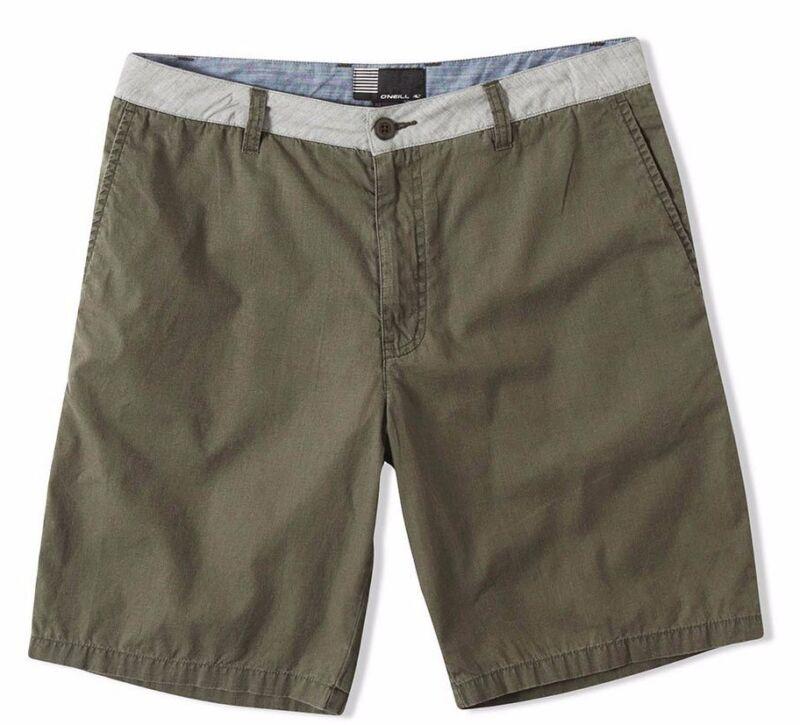 O'neill Langton Uomo 100% Cotone Pantaloncini Taglia 32 Verde Militare Nuovo