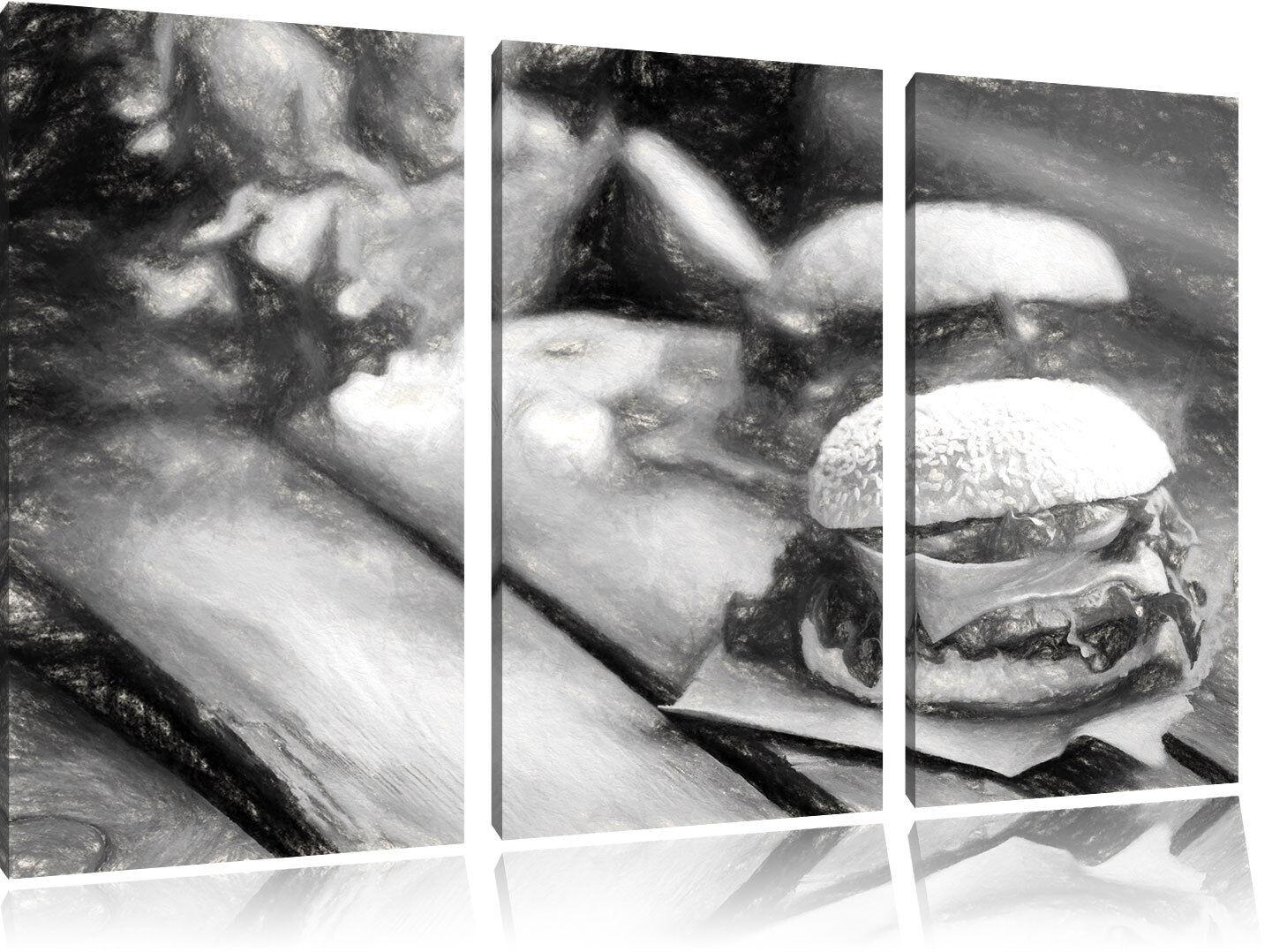 Delizioso Burger Carbone Motivo Effetto 3-Teiler Quadro su Tel Decorazione