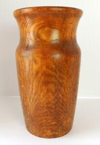 Vintage-Lathe-Turned-Wood-Vase-Jar-Urn-Handmade-Signed-039-95-Large-12-034-T-7-034-W