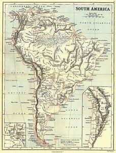 Details about SOUTH AMERICA: With United States of Colombia(Colombia &  Panama).BUTLER;1888 map