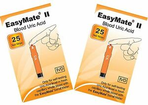 Uric-Acid-Test-TWO-packs-of-25-test-strips-EASYMATE-Fresh-and-long-dated