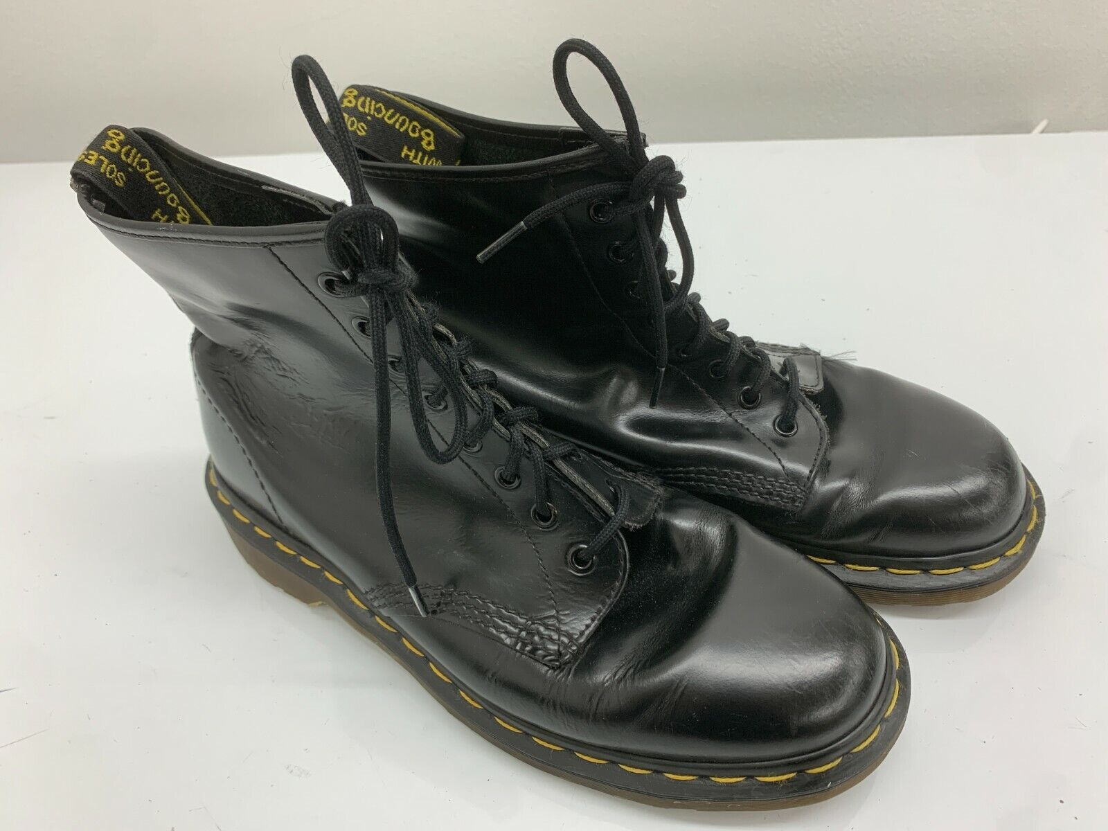 Dr Doc Martens Boots, Size 9UK, Black Shiny, 8 Eyelet, Docs Rare