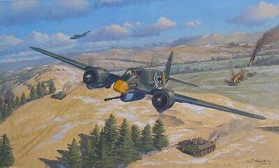 ORIGINAL WW2 MILITARY AVIATION ART PAINTING Hs-129 LUFTWAFFE VS T-34 TANKS  WWII   eBay