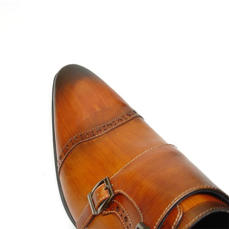 New Encore Cognac Tan Pointed Pelle Toe Pelle Pointed Style Slip on Dress Shoes FI 6922 81b893