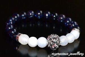 Natural-Goldstone-White-Frost-Agate-Gemstone-Bracelet-Elasticated-Healing-Stone