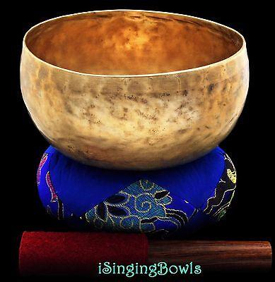 """Antique Tibetan Singing Bowl: Lotus 7 1/4"""", ca. 19th C., C3 & F#4. VIDEO"""