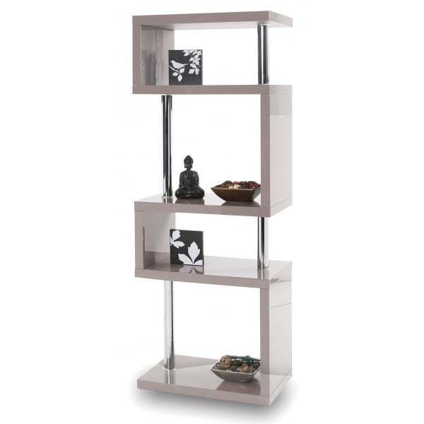 Modern Designer Tall Square Gloss Grey Shelving Unit