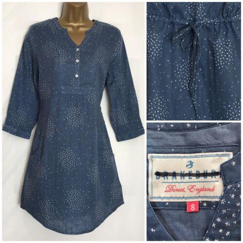 Brakeburn Bleu Imprimé Floral Coton Poche Haut Tunique Tailles 8,12-16 bb-1h