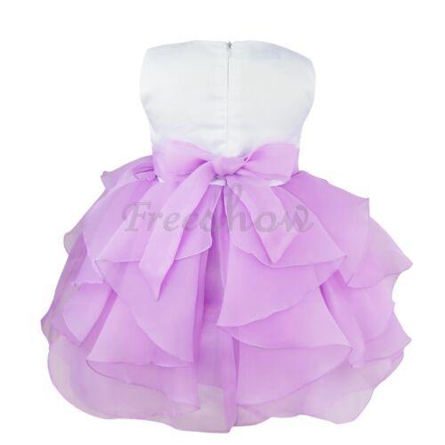 Infant Baby Girl Flower Princess Dress Party Baptism Wedding Organza Tutu Gown
