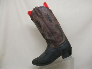61e1f50c2a1 DAN POST Brown Black Leather Inlay Cowboy Western Boots Mens Size 9 ...