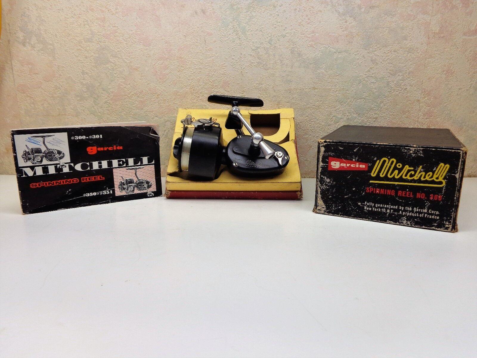 Vintage Garcia Mitchell 300 Fishing Spinning Reel W  Box Manual VgC