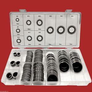 150-tlg-Bonded-Seal-Dichtring-Sortiment-M6-M24-Olablass-Schrauben-Dichtung-Satz