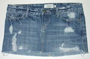 0afc980c0f Image is loading Womens-0-Abercrombie-Fitch-denim-blue-destroyed-micro-