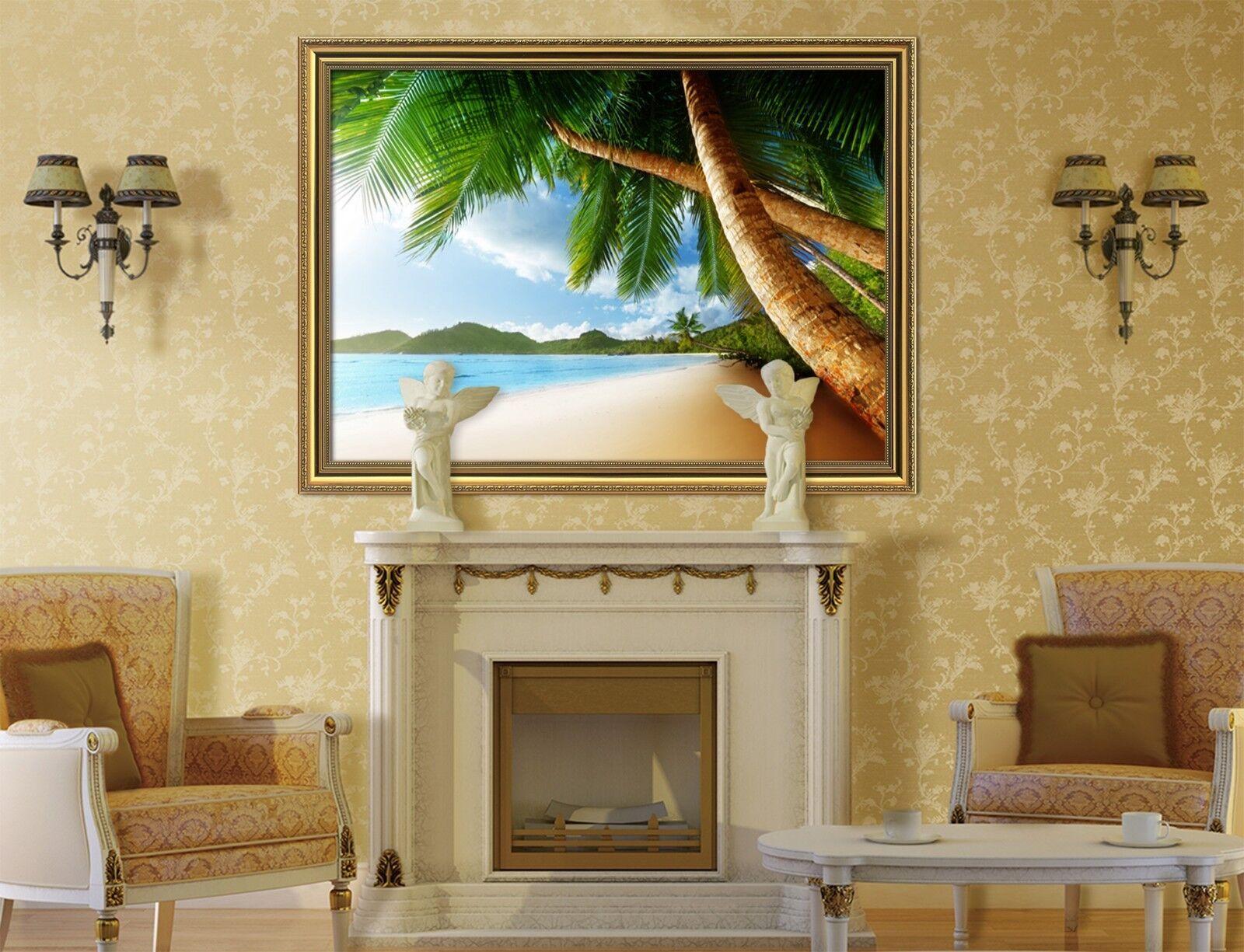 3D Palm Tree Beach 2 Framed Poster Home Decor Print Painting Art AJ WALLPAPER