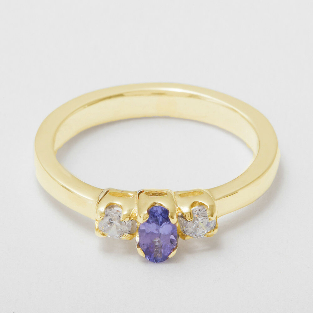 18k Yellow gold Natural Tanzanite & CZ Womens Trilogy Ring - Sizes 4 to 12