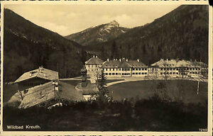 Wildbad-Kreuth-Bayern-alte-Ansichtskarte-1940-Teilansicht-Panorama-mit-Bergen