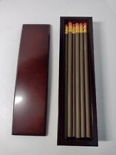 Bombay And Company Desktop Pencil Holder Cherry Wood 17 Pencils Amp Engrave Plate