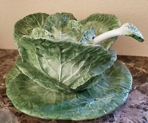 New Intrada Green Cabbage Soup Tureen Under Plate Ladle Ebay
