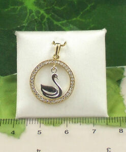 Sassi-P1213-Two-Colour-9ct-375-Gold-Circular-Swan-Cubic-Zirconia-CZ-Pendant