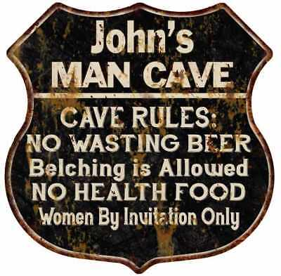 Your Name Garage Man Cave Rules Personalized Gift Shield Metal Sign 211110001001