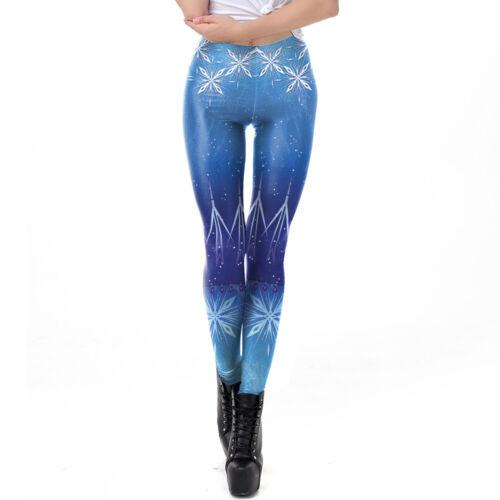 Woman Cosplay Legging Cartoon Snow ice Printed Legging S-XL elastic Legging