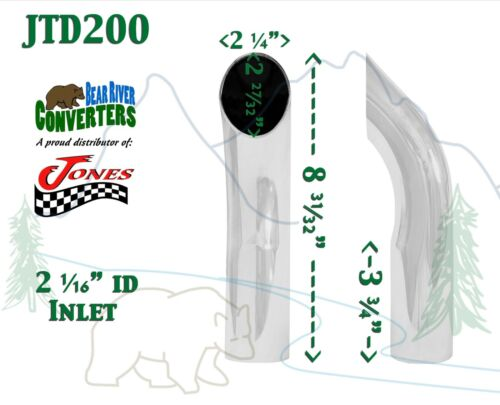 """9/"""" Long JTD200 2/"""" Chrome Turn Down Exhaust Tip 2 1//2/"""" 2.5/"""" Outlet"""