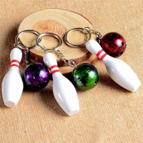 1PC Mini Cute Bowling Pin and Ball Keychain Key Ring 3D Keyfob Fashion Gifts