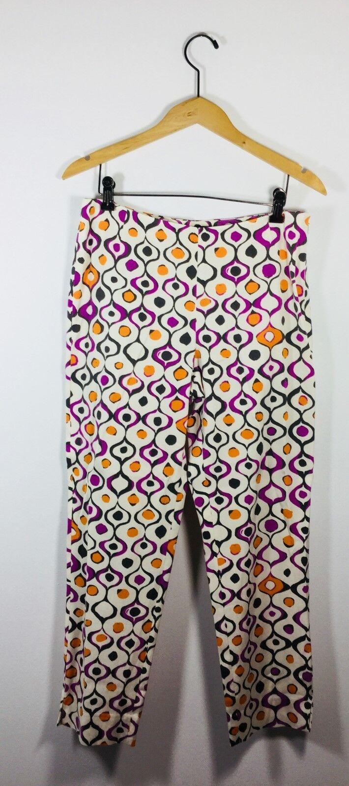 LAFAYETTE 148 Purple Yellow Geometric Print Crop Straight Leg Pant Size 6
