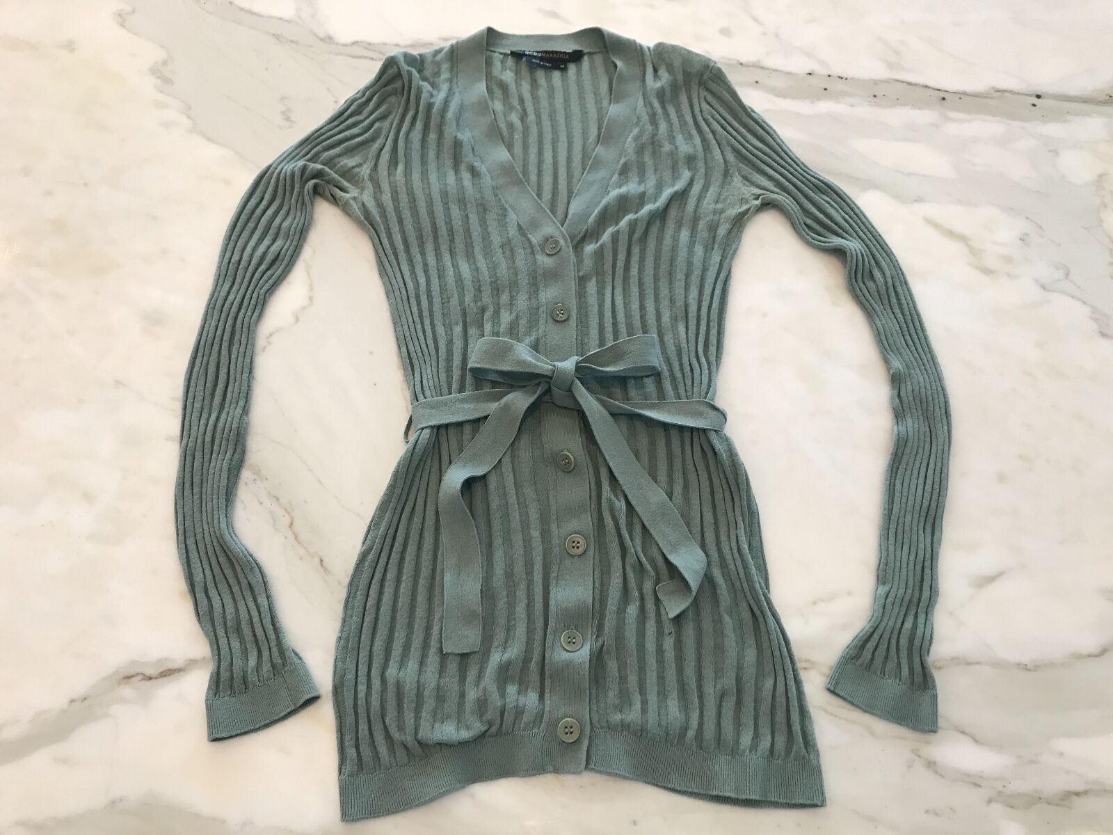 BCBG SAGE GREEN FITTED BELTED LIGHT WEIGHT CARDIGAN SWEATER SIZE X-SMALL