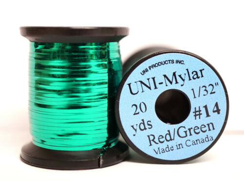 """Mylar Tinsel UNI 1//32/"""" = 0,8mm #14 zweifarbig GREEN//RED"""