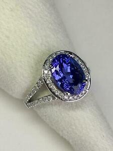 4-CT-Tanzanite-amp-Diamond-Halo-Style-Vintage-Engagement-Ring-14K-White-Gold-Over