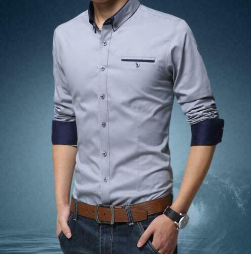 M-5XL Mens Cotton Business Dress Shirts Slim Fit Camisa De Vestir Negocio Tops
