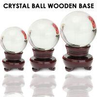 100mm Wooden Stand Crystal Ball Natural Quartz Magic Healing Meditate Sphere
