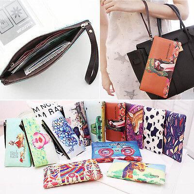 Women Girls PU Leather Long Wallet Zipper Handbag Phone Cards Coin Holders Purse