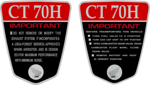 CT70H K1 CT70H 70,71,72  frame decals frame warning    RED graphics