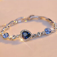 1Pc Fashion Women Ocean Blue Crystal Rhinestone Heart Bangle Bracelet Gift