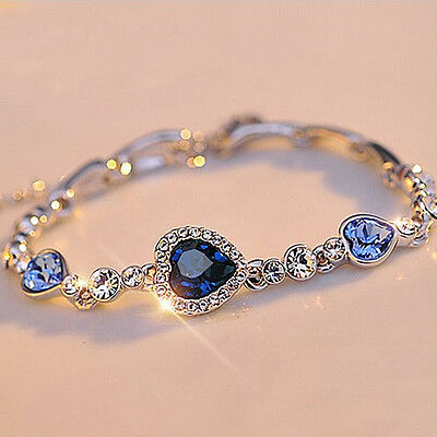 New Fashion Women Ocean Blue Crystal Rhinestone Heart Bangle Bracelet Gift