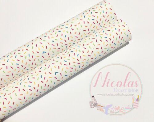 Sprinkles Ice Cream Blanc À faire soi-même Hair Bow Toile imprimée feuille tissu a4