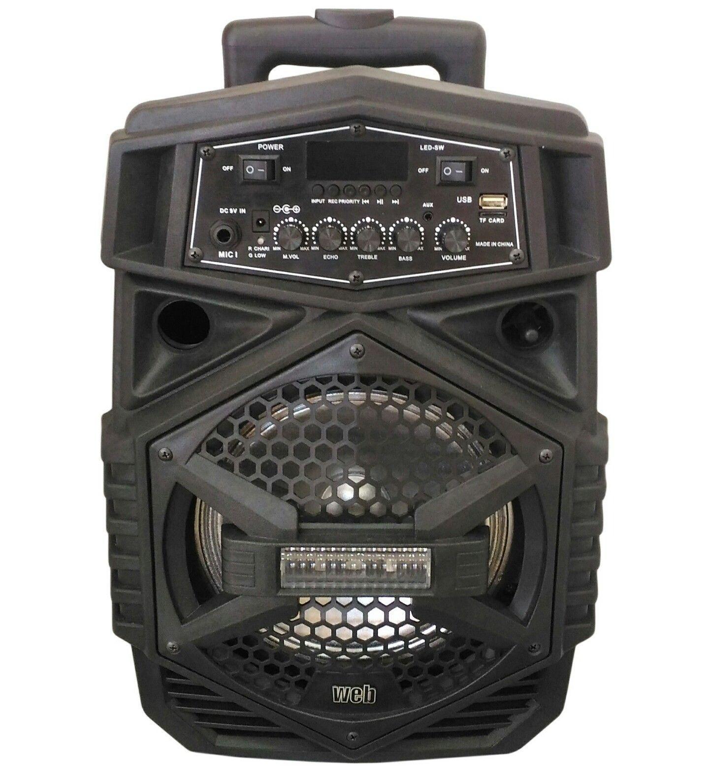 Cassa attiva amplificata portatile 100W azultooth FM USB SD 100W portatile trolley + microfono 2e8656