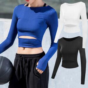 Sexy-Women-Crop-Top-Long-Sleeve-Workout-Gym-Yoga-Fitness-Running-Sport-T-Shirt