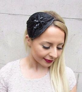 Black Grey Silver Sequin Flower Fascinator Races Cocktail Hair Headband 2672