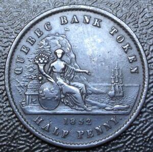 1852-CANADA-HALF-PENNY-BANK-TOKEN-UN-SOU-COPPER-Quebec-Bank-Br529-PC-3